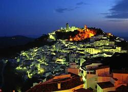 White village of Casares at night