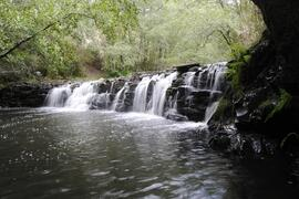 A waterfall on one of the hiking trails