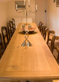 The large formal dining room at Honeymead farmhouse