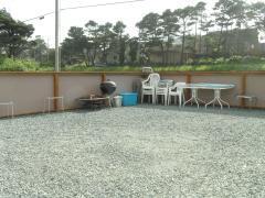 Inside fenced patio