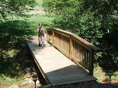 Cross the foot bridge to BreakAway Cabin