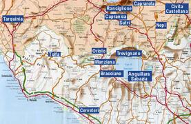 the area close Manziana, Lake Bracciano and the Thyrrenian sea