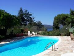 the sunny pool overlooking the lake Bracciano