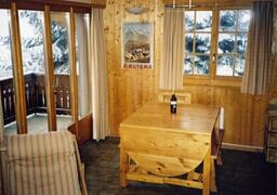 The dining area with views of the mountains