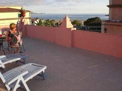 large roof terrace and sun deck with views over beach