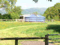 Paddock entrance with view of the Malvern Hills